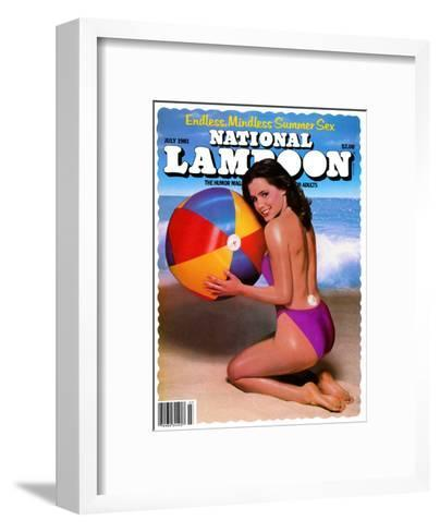 National Lampoon, July 1981 - Endless, Mindless Summer Sex with a Beach Babe on the Cover--Framed Art Print