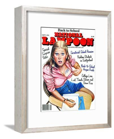 National Lampoon, September 1981 - Back to School, Girl Caught Cheating: Innaporpraite Notes--Framed Art Print
