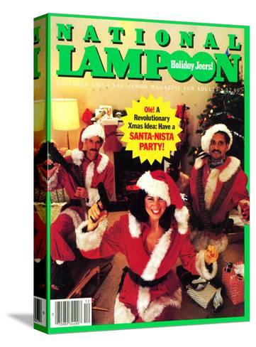 National Lampoon, December 1983 - Holiday Jeers! Have a Santa-Nista Party--Stretched Canvas Print
