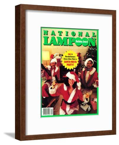 National Lampoon, December 1983 - Holiday Jeers! Have a Santa-Nista Party--Framed Art Print