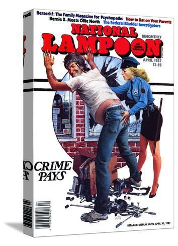 National Lampoon, April 1987 - Crime Pays--Stretched Canvas Print