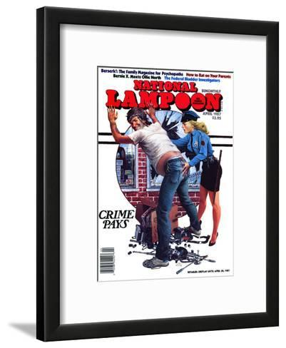 National Lampoon, April 1987 - Crime Pays--Framed Art Print