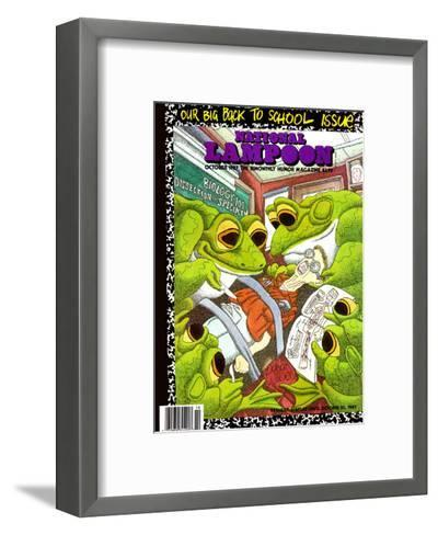 National Lampoon, October 1987 - Back to School Issue, Frogs Dissect Student--Framed Art Print