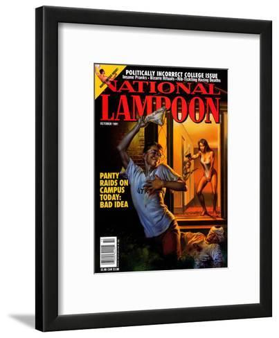 National Lampoon, October 1991 - Panty Raids on Campus Today: Bad Idea--Framed Art Print