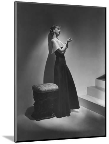Vogue - December 1934 - Lanvin Gown Posed Beside Stairs-Horst P. Horst-Mounted Premium Photographic Print