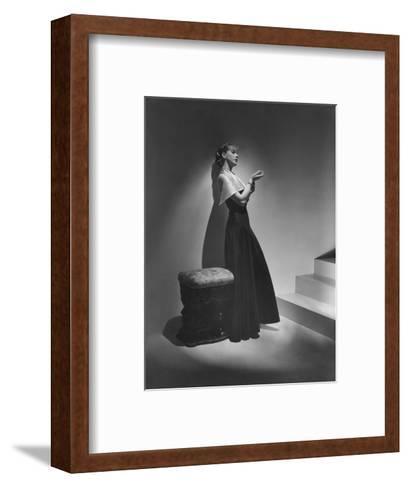 Vogue - December 1934 - Lanvin Gown Posed Beside Stairs-Horst P. Horst-Framed Art Print