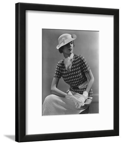 Vogue - January 1935 - Woman in Knitted Sportswear and White Hat-Lusha Nelson-Framed Art Print