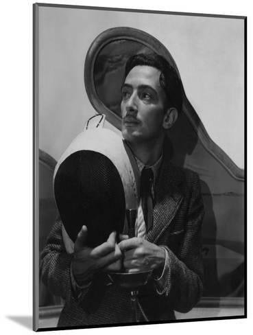 Vogue - November 1936 - Salvador Dali with Fencing Helmet-Cecil Beaton-Mounted Premium Photographic Print