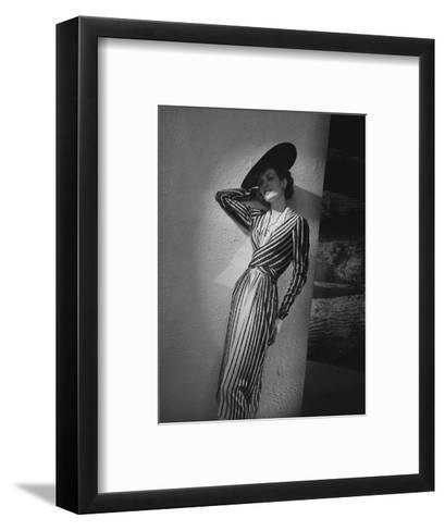Vogue - March 1938 - Vertical Striped Dress by Lelong-Andr? Durst-Framed Art Print