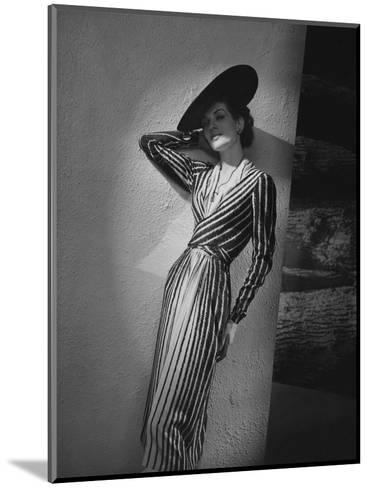 Vogue - March 1938 - Vertical Striped Dress by Lelong-Andr? Durst-Mounted Premium Photographic Print