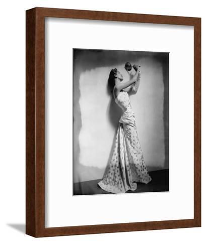 Vogue - April 1948 - Model Gazing in Hand Mirror-Cecil Beaton-Framed Art Print
