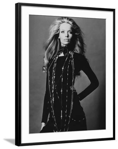 Vogue - November 1969 - Veruschka Draped with Necklaces-Franco Rubartelli-Framed Art Print
