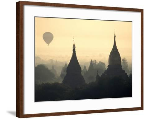 Hot Air Balloon over the Temple Complex of Pagan at Dawn, Burma-Brian McGilloway-Framed Art Print
