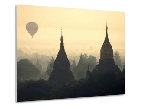 Hot Air Balloon over the Temple Complex of Pagan at Dawn, Burma-Brian McGilloway-Metal Print