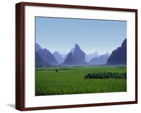 Farmland with the Famous Limestone Mountains of Guilin, Guangxi Province, China-Charles Sleicher-Framed Art Print