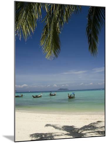Thai Longboats Along the Coast of Phi Phi Don Island, Phuket, Andaman Sea, Thailand-Cindy Miller Hopkins-Mounted Photographic Print
