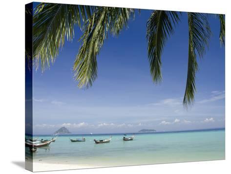 Thai Longboats Along the Coast of Phi Phi Don Island, Phuket, Andaman Sea, Thailand-Cindy Miller Hopkins-Stretched Canvas Print