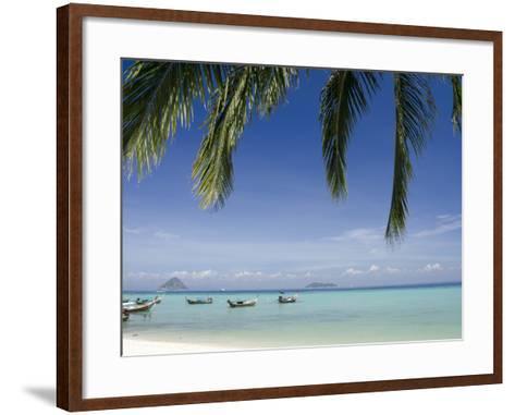 Thai Longboats Along the Coast of Phi Phi Don Island, Phuket, Andaman Sea, Thailand-Cindy Miller Hopkins-Framed Art Print