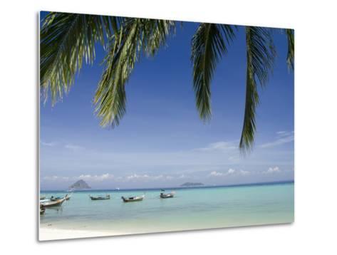 Thai Longboats Along the Coast of Phi Phi Don Island, Phuket, Andaman Sea, Thailand-Cindy Miller Hopkins-Metal Print