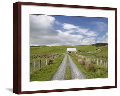 Track and Farm Building, Near Lake Ferry, Wairarapa, North Island, New Zealand-David Wall-Framed Art Print