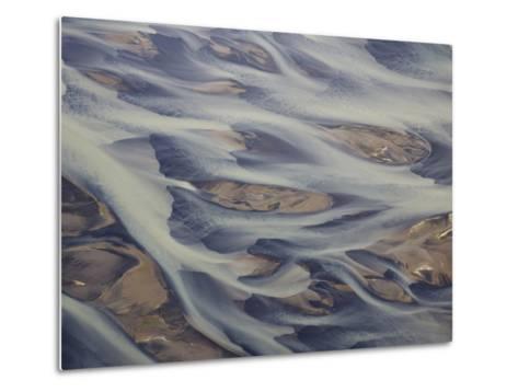 Aerial of Holsa River Delta Fingers, Reykjavik, Iceland-Josh Anon-Metal Print
