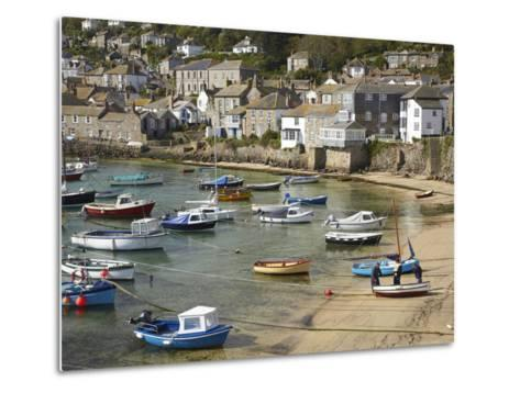 Boats in Mousehole Harbour, Near Penzance, Cornwall, England-David Wall-Metal Print