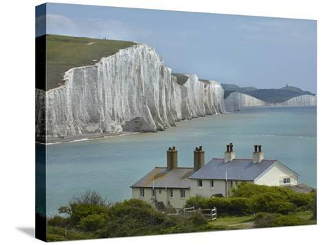 Seven Sisters Chalk Cliffs, Cuckmere Haven, Near Seaford, East Sussex, England-David Wall-Stretched Canvas Print