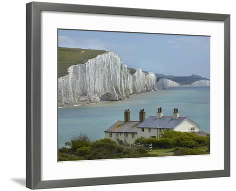 Seven Sisters Chalk Cliffs, Cuckmere Haven, Near Seaford, East Sussex, England-David Wall-Framed Art Print