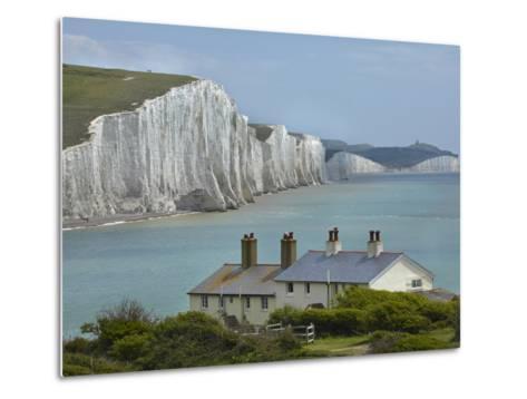 Seven Sisters Chalk Cliffs, Cuckmere Haven, Near Seaford, East Sussex, England-David Wall-Metal Print