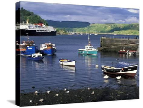 Harbor and Caledonian-Macbrayne Ferry, Oban, Scotland-Bill Sutton-Stretched Canvas Print