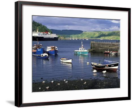 Harbor and Caledonian-Macbrayne Ferry, Oban, Scotland-Bill Sutton-Framed Art Print