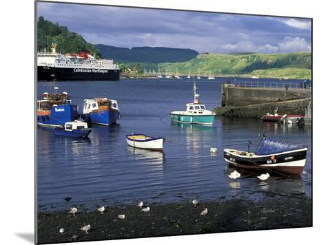 Harbor and Caledonian-Macbrayne Ferry, Oban, Scotland-Bill Sutton-Mounted Photographic Print