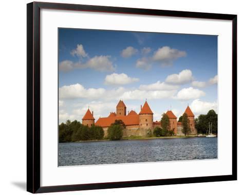 Island Castle on Lake Galve, Trakai Historical National Park, Trakai, Lithuania-Walter Bibikow-Framed Art Print