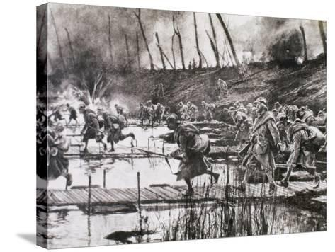 First World War (1914-1918). French Army Crosses the River Isere on Improvised Gateways-Prisma Archivo-Stretched Canvas Print
