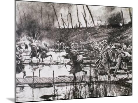 First World War (1914-1918). French Army Crosses the River Isere on Improvised Gateways-Prisma Archivo-Mounted Photographic Print