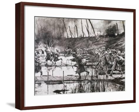 First World War (1914-1918). French Army Crosses the River Isere on Improvised Gateways-Prisma Archivo-Framed Art Print