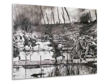 First World War (1914-1918). French Army Crosses the River Isere on Improvised Gateways-Prisma Archivo-Metal Print