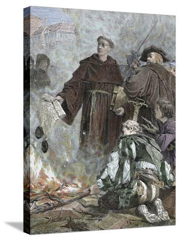 German Reformer, Luther Burning the Papal Bull 'Exsurge Domine' (1520) of Pope Leo X-Prisma Archivo-Stretched Canvas Print