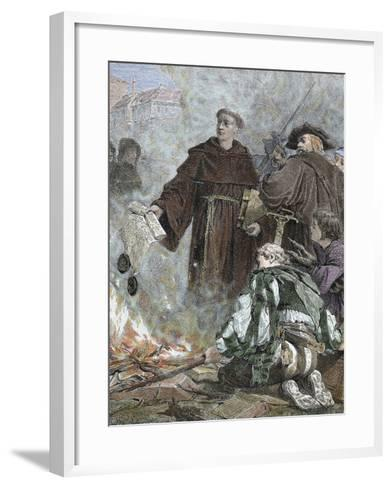 German Reformer, Luther Burning the Papal Bull 'Exsurge Domine' (1520) of Pope Leo X-Prisma Archivo-Framed Art Print