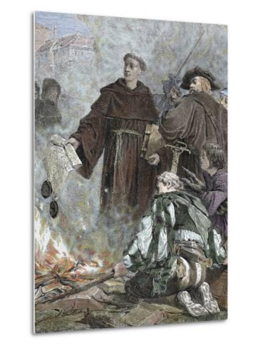 German Reformer, Luther Burning the Papal Bull 'Exsurge Domine' (1520) of Pope Leo X-Prisma Archivo-Metal Print