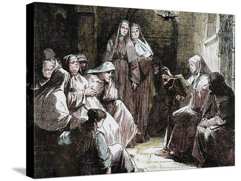 Cloistered Nuns, Gospel Reading, 19th Century-Prisma Archivo-Stretched Canvas Print