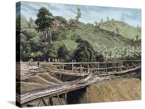 Construction of the Panama Canal. Works in Bridge Called 'Alto-Obispo'-Prisma Archivo-Stretched Canvas Print