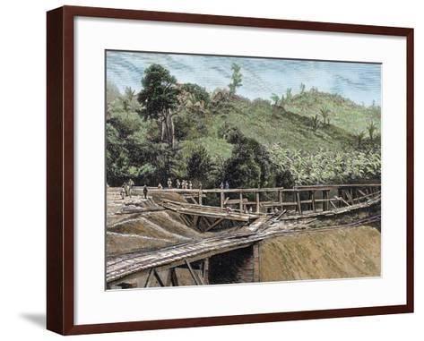 Construction of the Panama Canal. Works in Bridge Called 'Alto-Obispo'-Prisma Archivo-Framed Art Print
