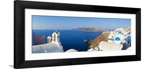 Blue Domed Churches in the Village of Oia, Santorini (Thira), Cyclades Islands, Aegean Sea, Greece-Gavin Hellier-Framed Art Print