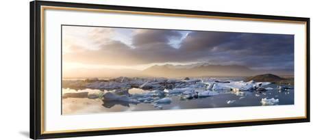 Icebergs Floating on the Jokulsarlon Glacial Lagoon at Sunset, Iceland, Polar Regions-Lee Frost-Framed Art Print
