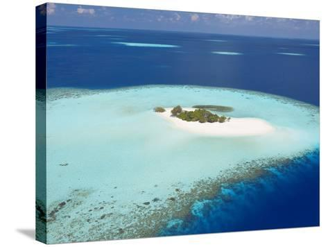 Aerial View of Small Island, Maldives, Indian Ocean, Asia-Sakis Papadopoulos-Stretched Canvas Print
