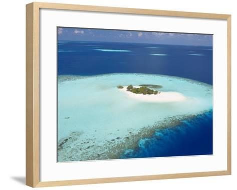 Aerial View of Small Island, Maldives, Indian Ocean, Asia-Sakis Papadopoulos-Framed Art Print