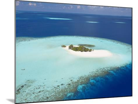 Aerial View of Small Island, Maldives, Indian Ocean, Asia-Sakis Papadopoulos-Mounted Photographic Print