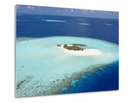 Aerial View of Small Island, Maldives, Indian Ocean, Asia-Sakis Papadopoulos-Metal Print