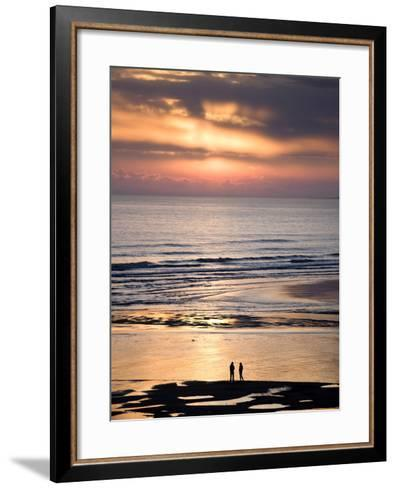 Man and Woman in Silhouette Looking Out Over North Sea at Sunsrise From Alnmouth Beach, England-Lee Frost-Framed Art Print